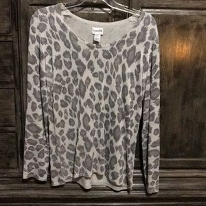 Silver and grey sparkle animal print sweater